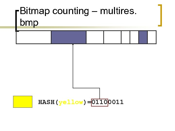 Bitmap counting – multires. bmp HASH(yellow)=01100011
