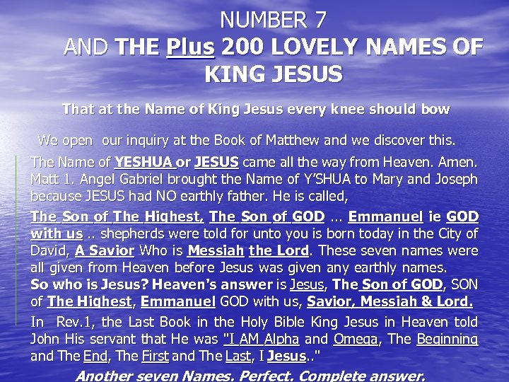 NUMBER 7 AND THE Plus 200 LOVELY NAMES OF KING JESUS That at the