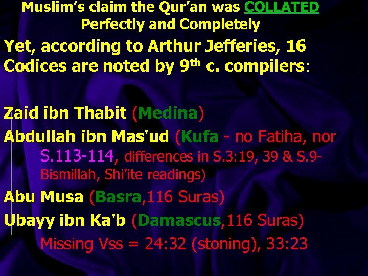 Muslim's claim the Qur'an was COLLATED Perfectly and Completely Yet, according to Arthur Jefferies,