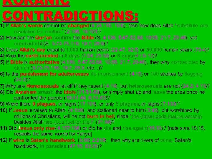 KORANIC CONTRADICTIONS: