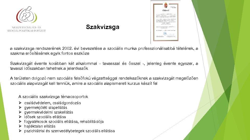 Szakvizsga a szakvizsga rendszerének 2002. évi bevezetése a szociális munka professzionálisabbá tételének, a szakma