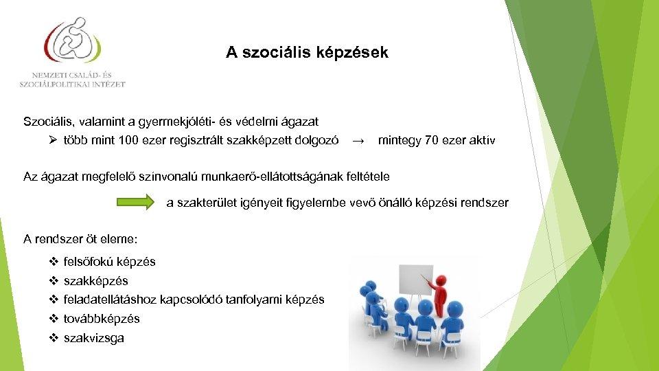 A szociális képzések Szociális, valamint a gyermekjóléti- és védelmi ágazat Ø több mint 100