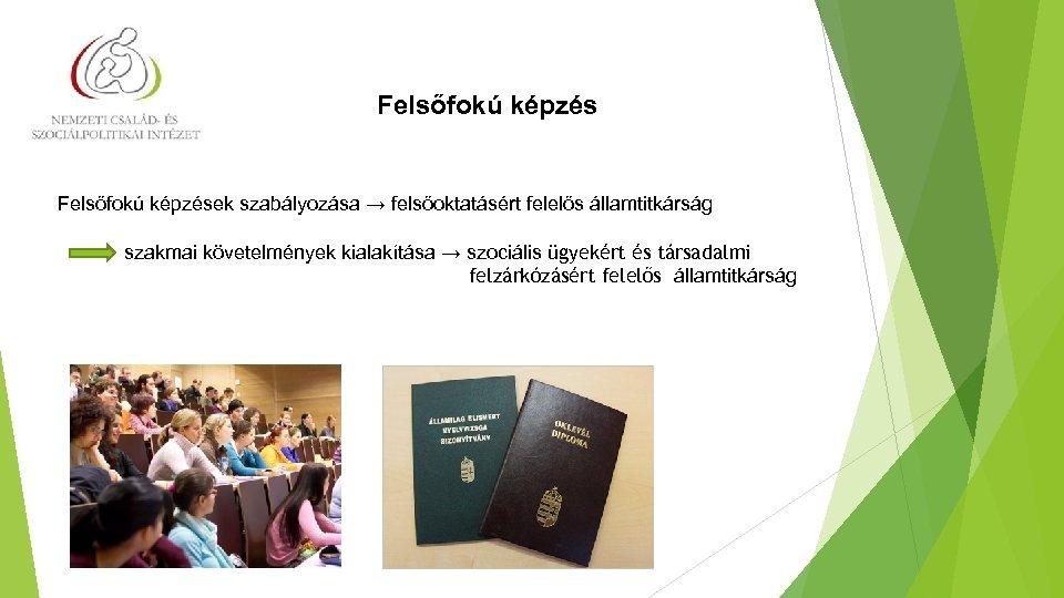 Felsőfokú képzés Felsőfokú képzések szabályozása → felsőoktatásért felelős államtitkárság szakmai követelmények kialakítása → szociális