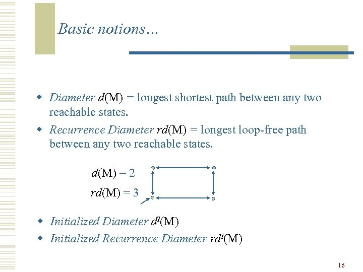 Basic notions… w Diameter d(M) = longest shortest path between any two reachable states.