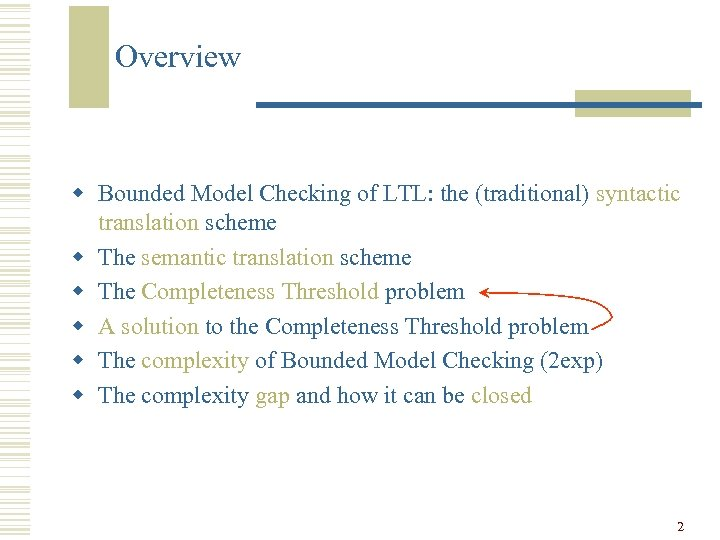 Overview w Bounded Model Checking of LTL: the (traditional) syntactic translation scheme w The