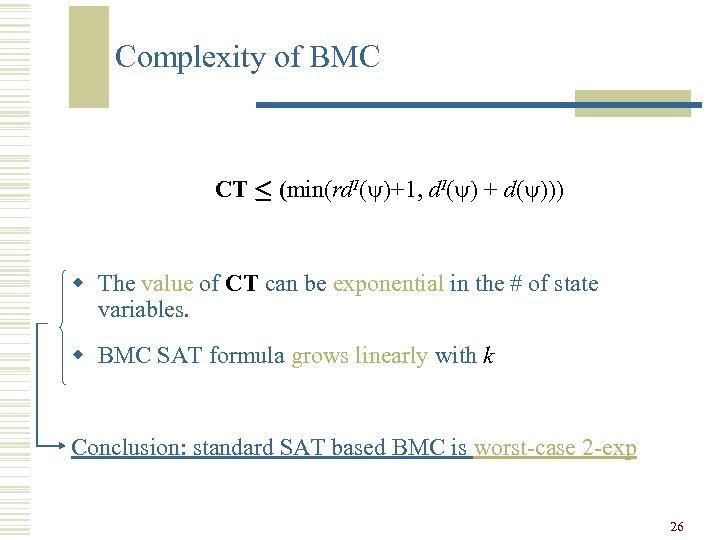 Complexity of BMC CT · (min(rd. I( )+1, d. I( ) + d( )))