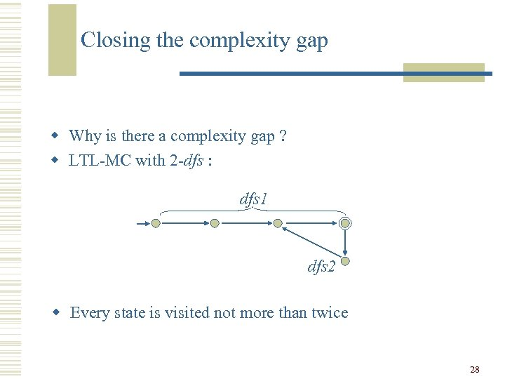 Closing the complexity gap w Why is there a complexity gap ? w LTL-MC