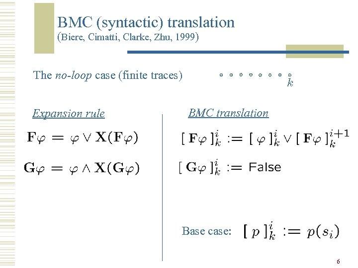 BMC (syntactic) translation (Biere, Cimatti, Clarke, Zhu, 1999) The no-loop case (finite traces) Expansion