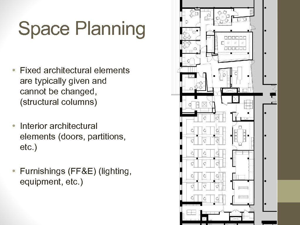 Space Planning • Fixed architectural elements are typically given and cannot be changed, (structural