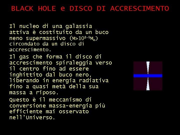 BLACK HOLE e DISCO DI ACCRESCIMENTO Il nucleo di una galassia attiva è costituito