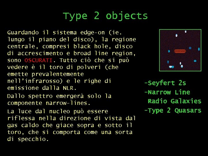 Type 2 objects Guardando il sistema edge-on (ie. lungo il piano del disco), la