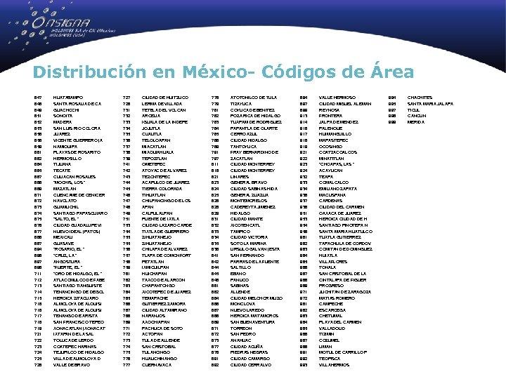 Distribución en México- Códigos de Área 647 648 649 651 652 653 656 658