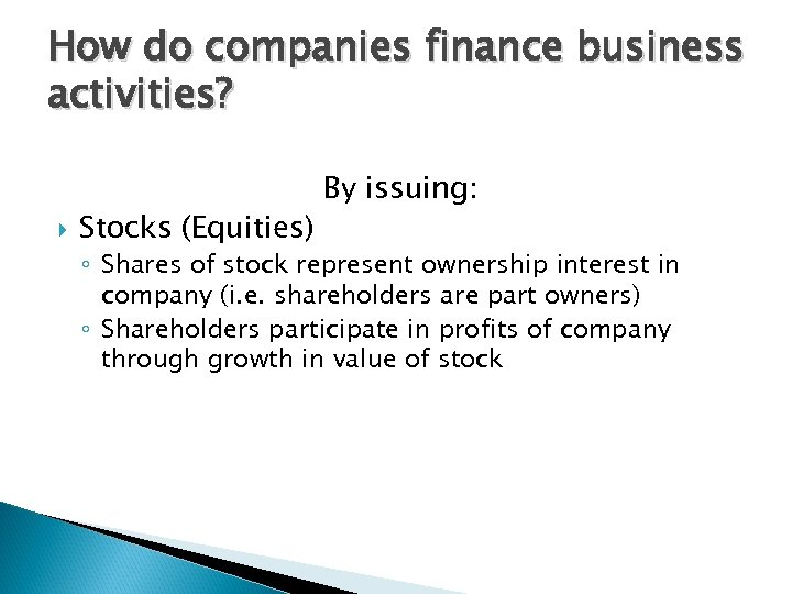 How do companies finance business activities? Stocks (Equities) By issuing: ◦ Shares of stock