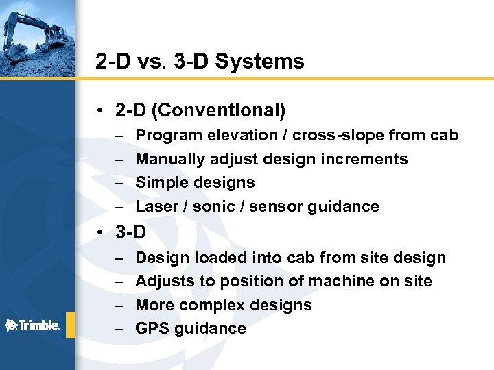 2 -D vs. 3 -D Systems • 2 -D (Conventional) – – Program elevation