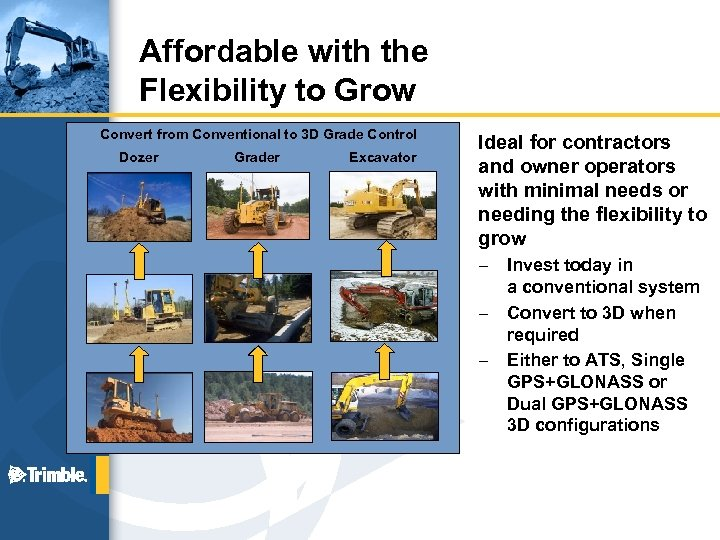 Affordable with the Flexibility to Grow Convert from Conventional to 3 D Grade Control