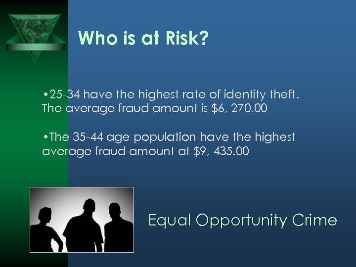 Who is at Risk? • 25 -34 have the highest rate of identity theft.