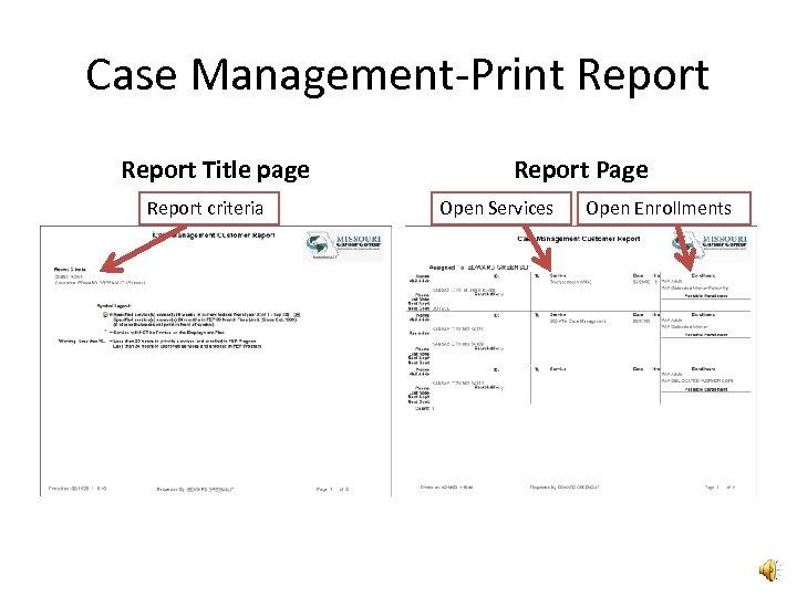 Case Management-Print Report Title page Report criteria Report Page Open Services Open Enrollments