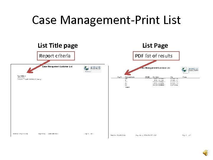 Case Management-Print List Title page Report criteria List Page PDF list of results