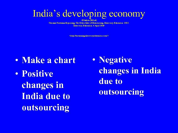 India's developing economy Citation (MLA) Thomas Friedman Reporting: The Other Side of Outsourcing. Discovery