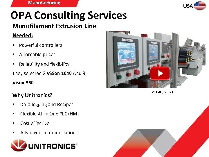 Manufacturing USA OPA Consulting Services Monofilament Extrusion Line Needed: • Powerful controllers • Affordable