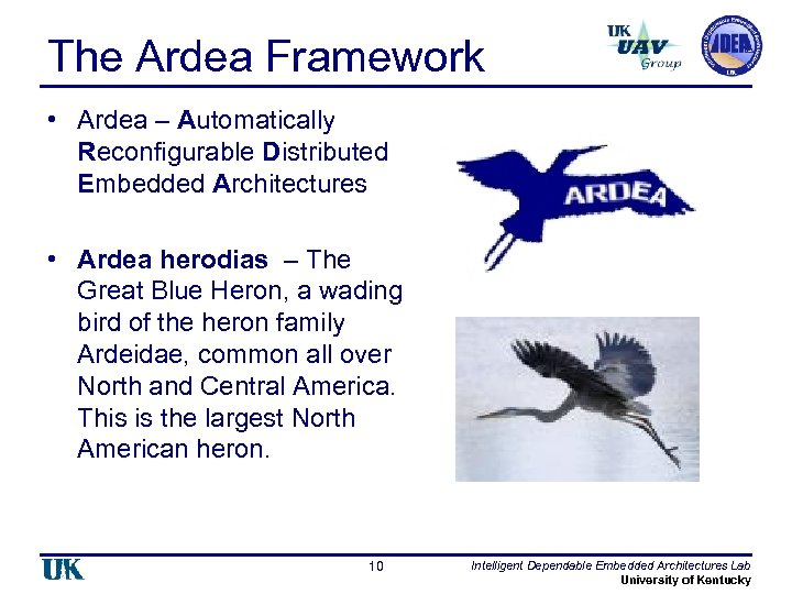 The Ardea Framework • Ardea – Automatically Reconfigurable Distributed Embedded Architectures • Ardea herodias