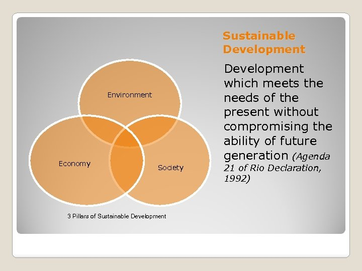 Sustainable Development which meets the needs of the present without compromising the ability of