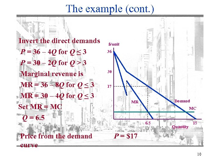 The example (cont. ) Invert the direct demands P = 36 – 4 Q