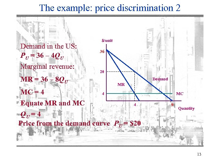 The example: price discrimination 2 Demand in the US: PU = 36 – 4
