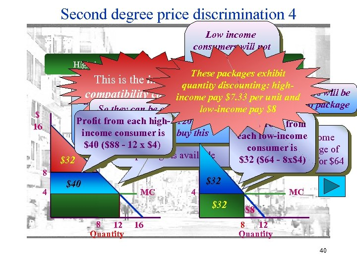 Second degree price discrimination 4 Low income consumers will not buy the ($88, 12)