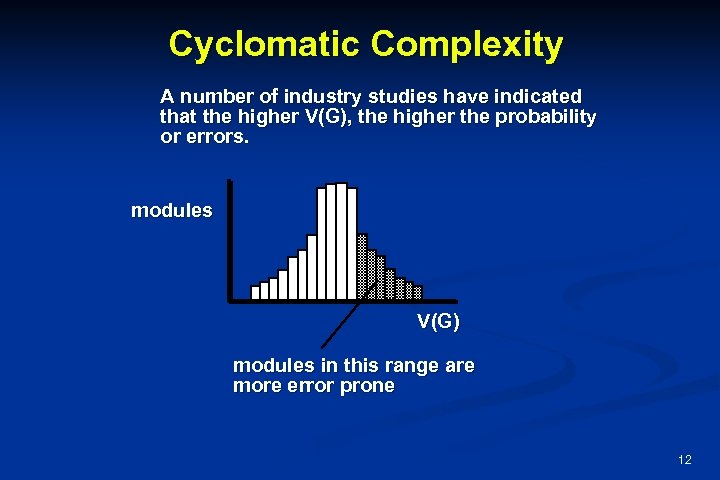 Cyclomatic Complexity A number of industry studies have indicated that the higher V(G), the