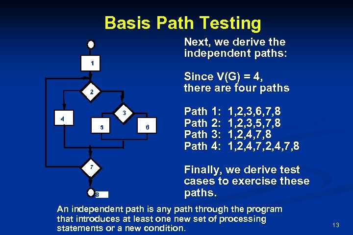 Basis Path Testing Next, we derive the independent paths: 1 Since V(G) = 4,