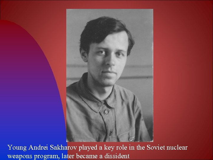 Young Andrei Sakharov played a key role in the Soviet nuclear weapons program, later