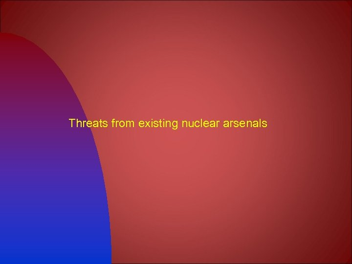 Threats from existing nuclear arsenals