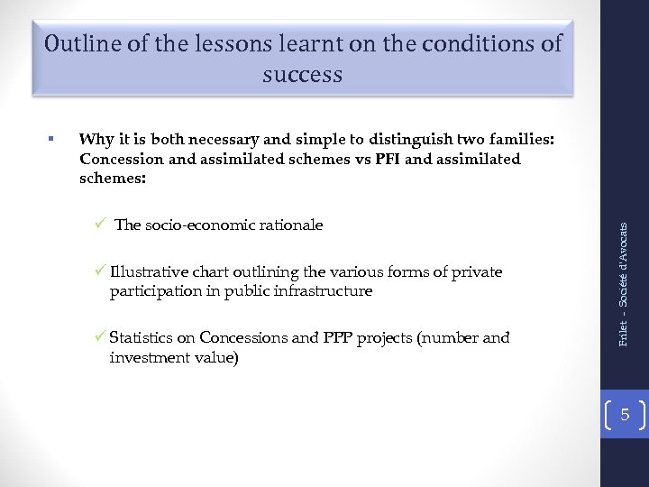 Outline of the lessons learnt on the conditions of success Why it is both