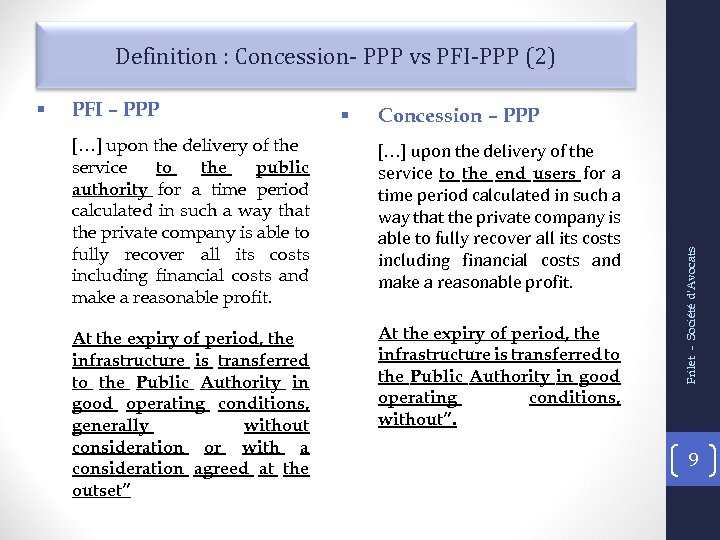 Definition : Concession- PPP vs PFI-PPP (2) PFI – PPP § Concession – PPP