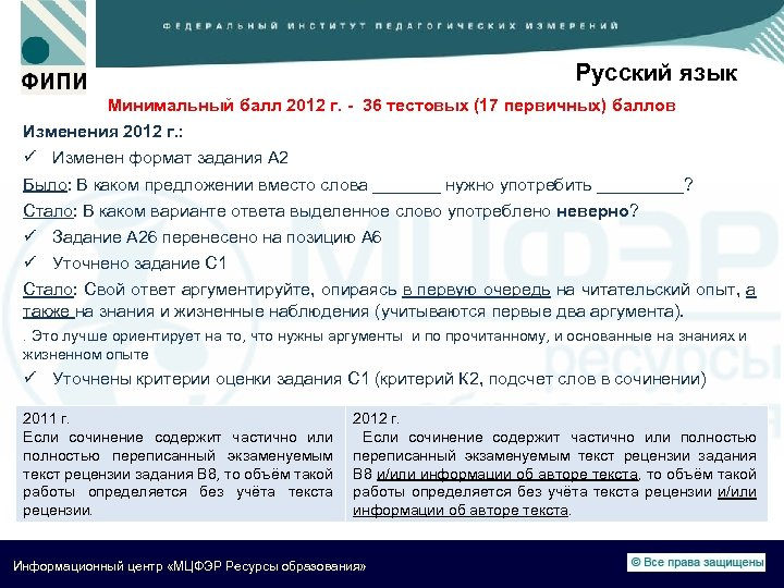 Русский язык Минимальный балл 2012 г. - 36 тестовых (17 первичных) баллов Изменения 2012