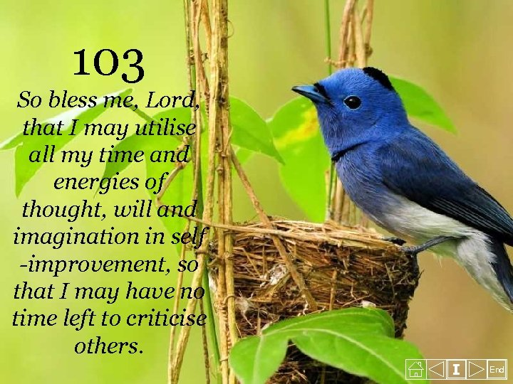 103 So bless me, Lord, that I may utilise all my time and energies