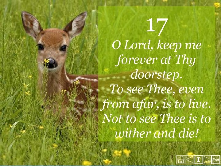 17 O Lord, keep me forever at Thy doorstep. To see Thee, even from