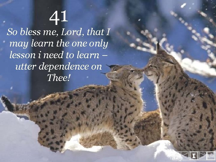 41 So bless me, Lord, that I may learn the only lesson i need