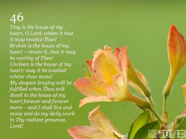 46 Tiny is the house of my heart, O Lord, widen it that it