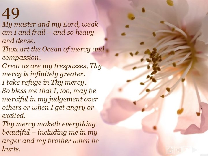 49 My master and my Lord, weak am I and frail – and so