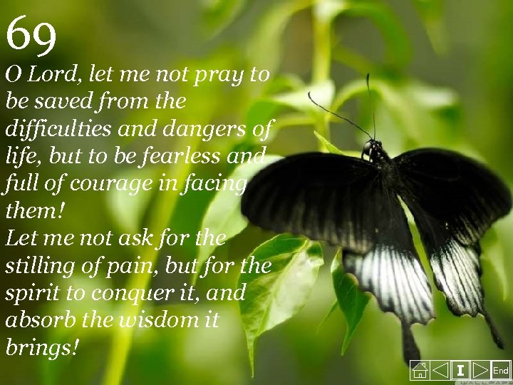 69 O Lord, let me not pray to be saved from the difficulties and