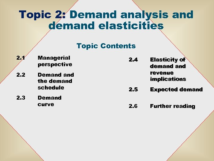 Topic 2: Demand analysis and demand elasticities Topic Contents 2. 1 Managerial perspective 2.