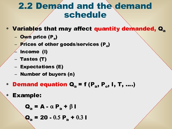 2. 2 Demand the demand schedule • Variables that may affect quantity demanded, Qa