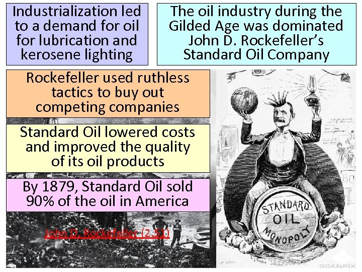 Industrialization led The oil industry during the to a demand for oil Gilded Age