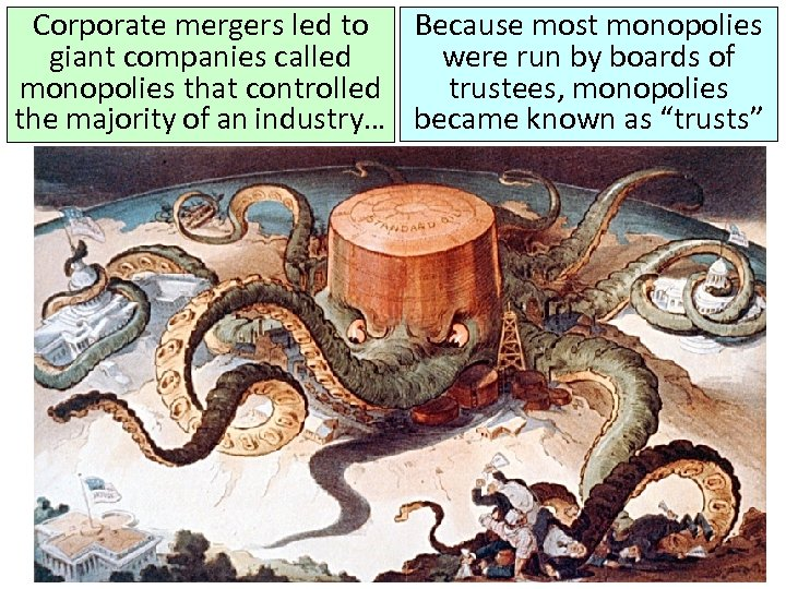 Corporate mergers led to Because most monopolies giant companies called were run by boards