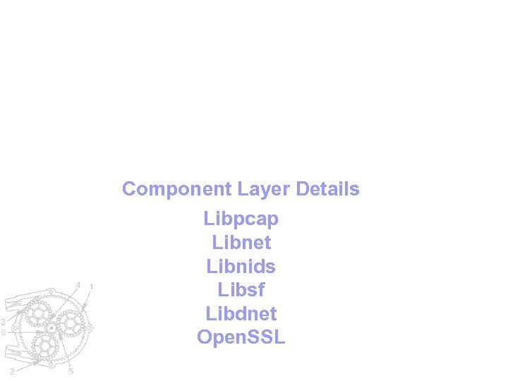 Component Layer Details Libpcap Libnet Libnids Libsf Libdnet Open. SSL