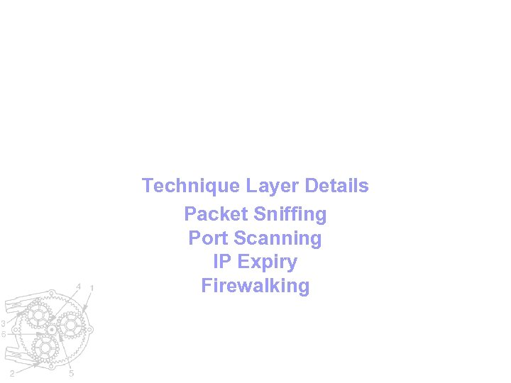 Technique Layer Details Packet Sniffing Port Scanning IP Expiry Firewalking