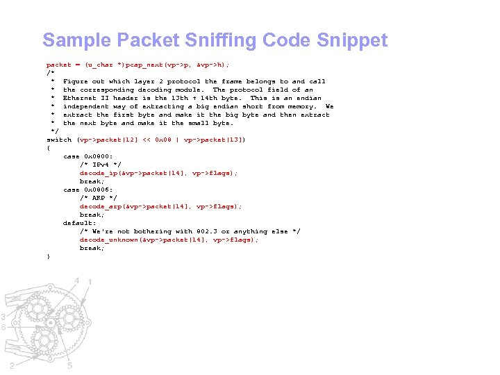Sample Packet Sniffing Code Snippet packet = (u_char *)pcap_next(vp->p, &vp->h); /* * Figure out
