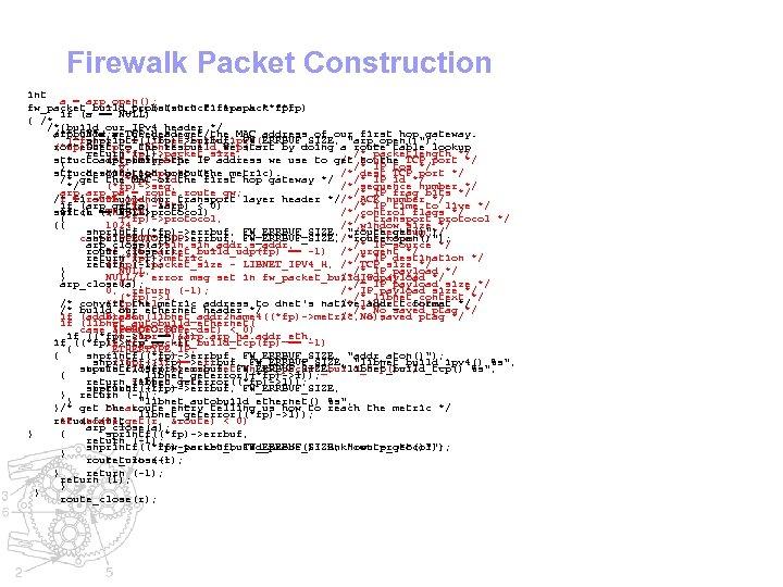 Firewalk Packet Construction int a = arp_open(); fw_packet_build_tcp(struct firepack **fp) fw_packet_build_probe(struct firepack **fp) if